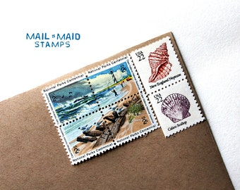 Beach Escape || set of unused beach and seashells vintage postage stamps to mail 10 - 1 oz letters