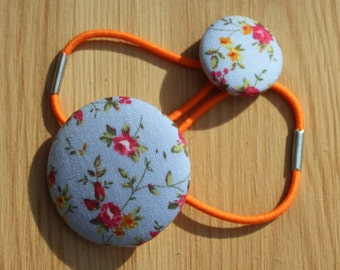 Fabric Hair ties - ponytail, plait, blue with pink flowers, orange hair bands, handmade birthday gift for her, hair bobble, fabric