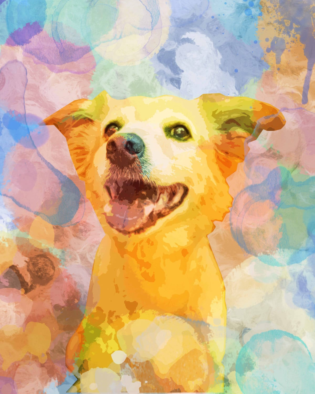 Custom pet art watercolor dog art custom dog painting for Dog painting artist