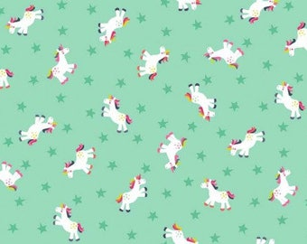 Unicorn fabric - Rainbow unicorn material - Turquoise fabric - Quilting fabric - Cotton fabric - Girls fabric - Fairy tail fabric