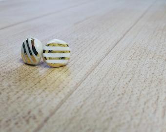 Porcelain and 24k gold handmade earrings