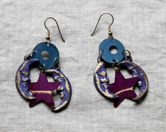 Bohemian Moon and Star Earrings-Celestial Earrings-Hippie Dangle Earrings-