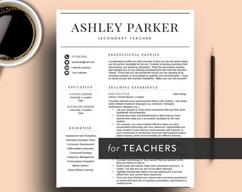 Teacher Resume Template for Word & Pages (1, 2 and 3 Page Resume Included) | Educator Resume| Researcher | Cover Letter | Instant Download