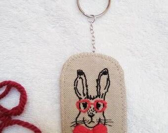 Vintage Rabbit Embroidered Keychain
