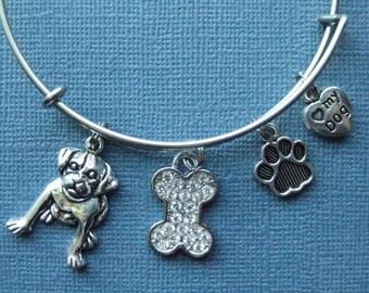 Dog Bangle - Dog Charm Bracelet - Dog Jewelry - Charm Bracelet - Bangle - Dog Lover -- B105