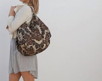Reversible bag, Large hand bag, Beach bag, Weekend bag, Travel bag, Leather straps, Mommy Bag, Jacquard bag, shoulder bag, tote bag