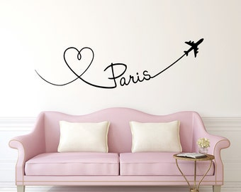 Merveilleux Paris Wall Decal Planes Hearts Love Travel Vinyl Stickers Decals Art Home  Decor Mural Vinyl Lettering