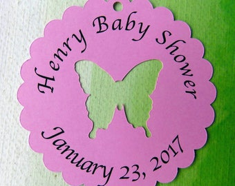Personalized Favor Tag,  Baby Shower Tag, Baptism Favor Tag, Christening Favor Tag, Baby Shower Favor Tags, Butterfly Tags, Shower Tags