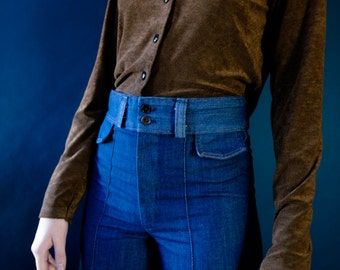 Vintage velvet -y chocolate long sleeve tshirt small