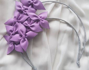Lilac genuine leather halo flower crown / headband / fascinator, ideal for the races or a wedding