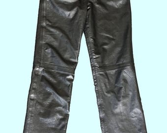 "Vintage 80s 90s ""West Bay Sport Leathers"" High Waisted Black Leather Pants"
