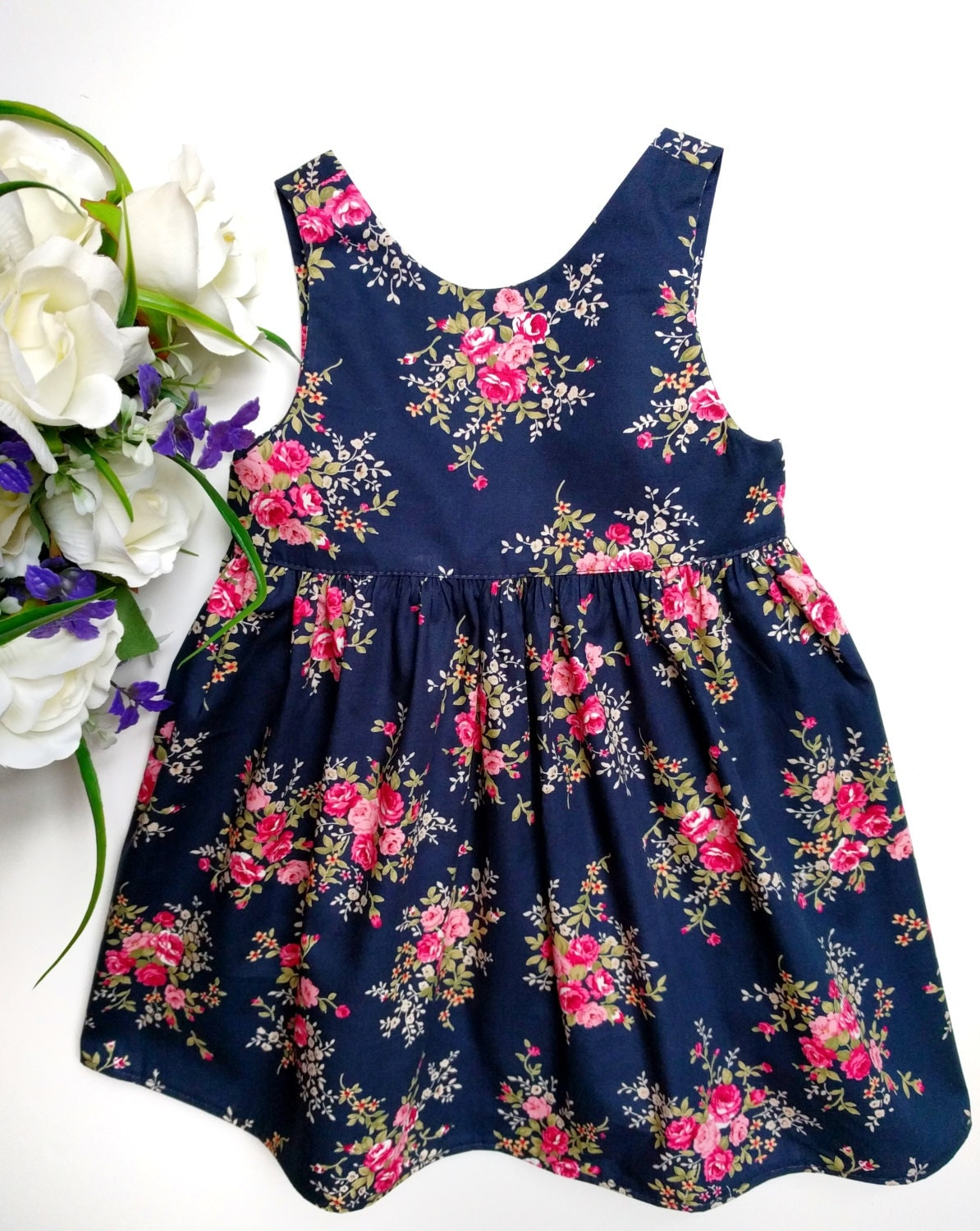 Navy blue floral baby dress Christmas t Blue baby dress