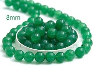 Green jade beads 8mm Emerald green jade Green stone beads Round jade beads Jewelry making beads Jewelry Supplies / 10 beads About 7-8 cm