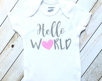 Hello world, baby girl clothes, newborn, hospital gift, coming home outfit, baby shower gift