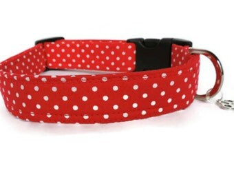 Red Spotted Fabric Dog Collar, Adjustable All Sizes for Boy or Girl Dog,  UK Made