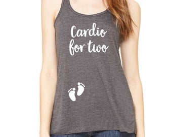 Cardio For Two Pregnancy Workout Tank Top - Pregnancy Tank Top - Relaxed Flowy Tank Top - Workout Tank Top - Maternity Tank Top