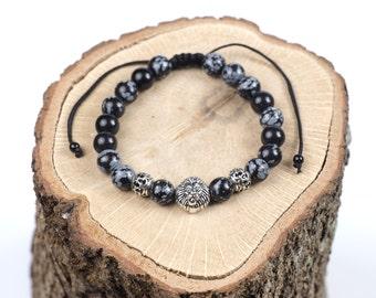 Black Marble Adjustable Bracelet with a Lion Head Charm