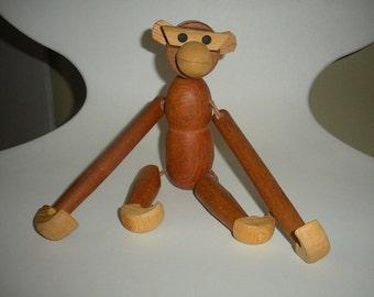 Vintage Japanese VIKING Importrade Signed Kay BOJESEN Era Hand Made Teak Wooden Monkey Toy Ambulated Mid Century Modern With Repair Kit