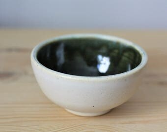 White and Dark Green Tiny Ceramic Bowl – Small Pottery Bowl – Small Ceramic Dish – Sauce Dish – Dipping Bowl