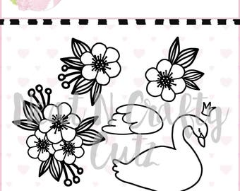 Swan and Flower Set cut file. For scrapbooking and paper crafting