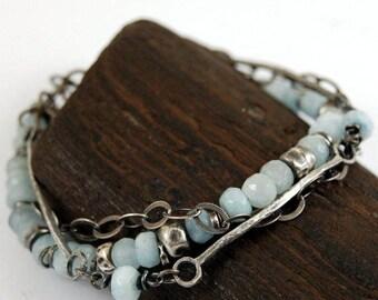 SALE 15% off !! - use the coupon code: SALE15 aquamarine silver bracelet,  light blue aquamarine bracelet