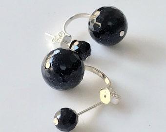 Sandstone Double Earrings -Blue Earrings -Sandstone Earrings -Beaded Earrings -Silver Earrings -Stud Earrings -Double Earrings -UK Seller