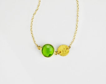 Custom Birthstone necklace, Mothers day gift August Birthstone initial necklace peridot necklace custom bridesmaid necklace peridot jewelry