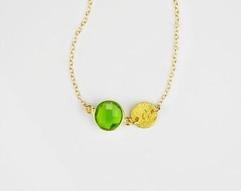 Custom Birthstone necklace Mom Christmas Gift August Birthstone initial necklace peridot necklace custom bridesmaid necklace peridot jewelry