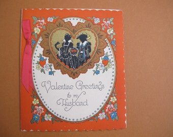 Antique Valentine's Card To my Husband / Victorian Silhouette heart Valentine's Card / From your loving wife