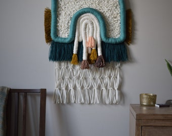 """Handmade Woven Wall Hanging. """"Boundaries"""". Wrapped and Knotted Wall Art, Colorful Fibers, Fringe and Macrame, Large Size Weaving Megan Rabil"""