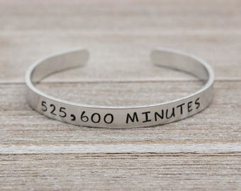 525,600 MINUTES - RENT Seasons of Love Inspired Stamped Bangle Bracelet - Broadway Musical Fan Gift - Made in the U.S.A.