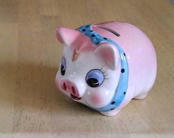 Vintage Pink Pig Bank Large Coin Bank Polka Dot Scarf Ceramic Coin Bank Big Eyes Pink Blue Child Nursery Decor