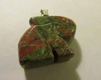 "Carved Unakite Gemstone Bunny Rabbit Charm-Pendant, 3/4"""