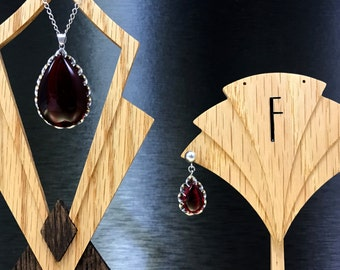 Vintage Red Gift Earrings | Her Garnet Jewelry | Garnet Gift Earrings | Garnet Gift Necklace | Her Garnet Gift |