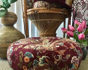 Unfilled 18 Inch Diameter Bohemian Chic Floor Cushion Cover, Made in Australia, Ottoman, Meditation Cushion, Pouffe Boho Pouf, Moroccan Pouf