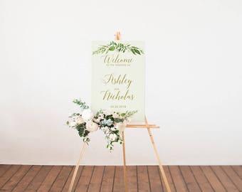Custom Welcome Sign, Printable Wedding Sign, Greenery wedding, Green and gold wedding,  Printable wedding design, Botanical, Outdoor Sign