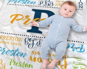 Personalized Baby Blanket Boy - Baby Blanket With Name - New Baby Gift - Baby Shower Gift Idea - New Parent Gift - Baby Swaddle Blanket