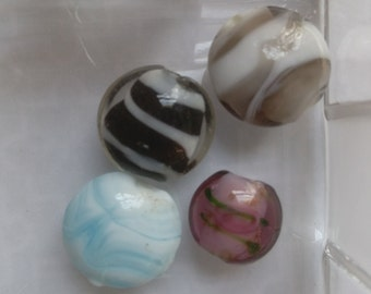 Beads, Lampworked Beads, Mixed Lot, Listing is for 4 Beads