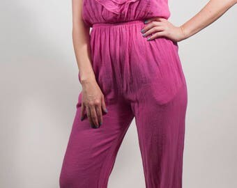 Vintage jumpsuit, Fran drescher pink, Summer jumpsuit, 80s jumpsuit, Pink 90s jumpsuit, Hot pink beach wear, Bright pink ruffles