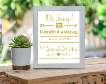 Gold Wedding Sign, Oh Snap, Share The Love Hashtag Printable, Wedding Reception, Wedding Decor,  PDF Download #CWS307_1811