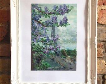 Paris in May painting, Eiffel tower oil painting, original oil art, French landmark painting