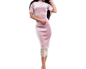 Pink Velvet High Neck Pencil Dress