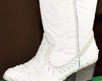 white or ivory wedding boots bridal rubber sole comfortable lace and pearl western cowboy boots