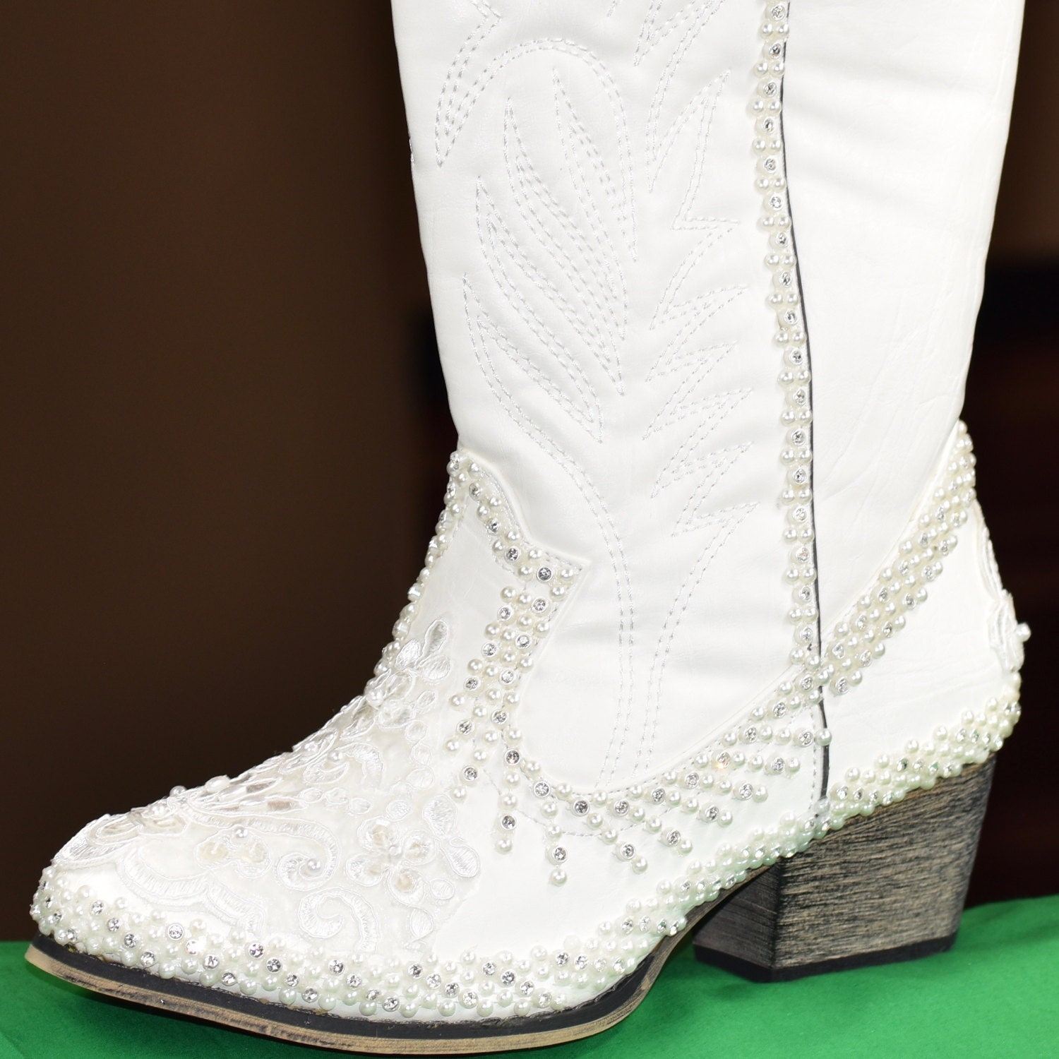 White or Ivory Wedding Boots Bridal Rubber Sole Comfortable Lace ...