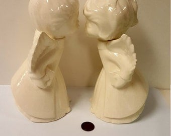 Pair of Vintage Ceramic Kissing Cherub / Kissing Angel Figurines, 8""