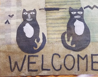 "Wool Applique pattern"" Welcome Cats """