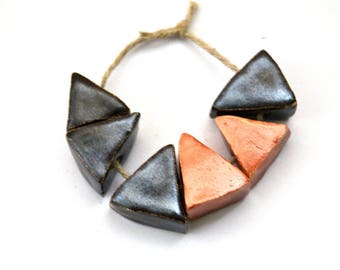 6 metallic triangle faceted brown and bronze color handmade ceramic beads