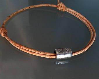Thin choker vegan women gift dog charm choker dog lover choker cork necklace minimalist wrap choker