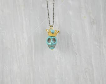 Turquoise Skull Necklace, Men's Necklace, Turquoise Necklace, Skull Pendant, Made in Greece by Christina Christi Jewels.