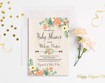Floral Baby Shower Invitation Printable Boho Baby Shower Invite Rustic Baby Shower Bohemian Baby Shower Mint Coral Baby Shower Invitation